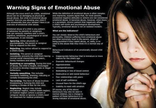 Emotional Abuse Warning Signs - 2015